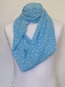 bb912b8fcd64 infini Echarpe jersey ou mousseline de soie bleu petit blanc étoiles ...
