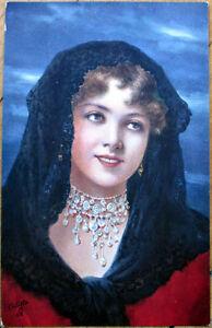 1910-Tuck-039-Beauty-039-s-Realm-039-Postcard-Brunette-Woman-Artist-Signed-6