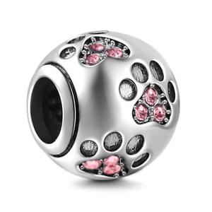 Authentique Charms Bracelet Dog Paw Print 925 Sterling Argent Femme Cadeau