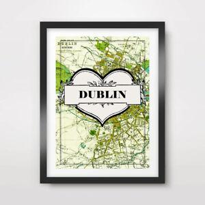 DUBLIN-CITY-VINTAGE-IRELAND-IRISH-GREEN-MAP-ART-PRINT-Poster-Decor-Wall-A4A3A2