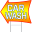 """CAR WASH 2 Sided Arrow Yard Sign 18/"""" x 24/"""" with Metal Sign Holder"""