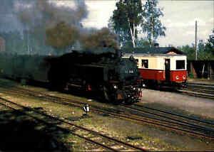 EISENBAHN-Motiv-Postkarte-Einheit-Einheitsdampflok-im-Bahnhof-BERTSDORF-ungel
