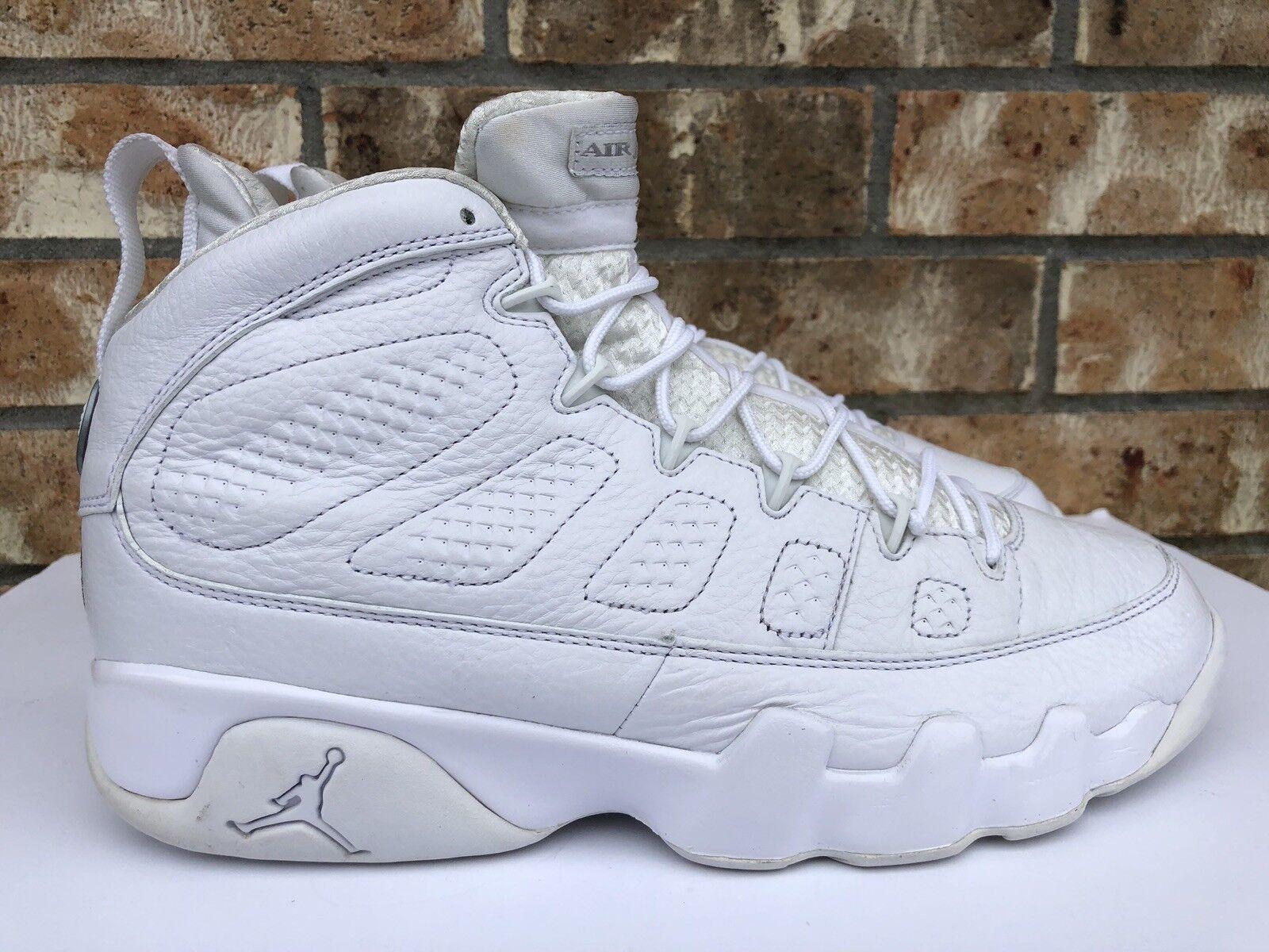 Men's Nike Air Jordan IX 9 Retro Silver 25th Anniversary Pure White 302370 104
