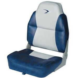 Details About Gray Navy High Back Boat Seat Embroidered Logo Thick Foam Folding Fishing Chair