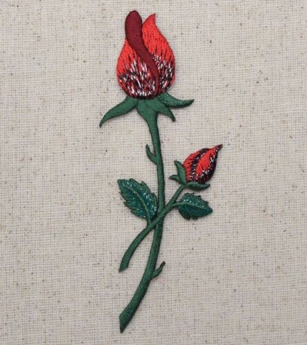 Iron on Applique//Embroidered Patch Red Rose on Stem Closed Buds 153110A