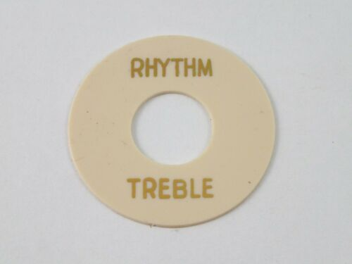 CREAM 3 Way TOGGLE SWITCH ROUND PLATE stamped Gold RHYTHM//TREBLE for Les Paul