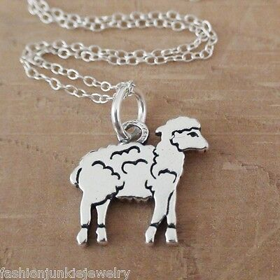 Lamb Charm Necklace - 925 Sterling Silver - Animal Baby Sheep Gift Jewelry NEW