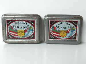 Two-Vintage-PACKER-039-S-TAR-SOAP-Steel-Tins-USA-Made-in-Mystic-Connecticut-1939
