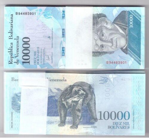 VENEZUELA BUNDLE OF 100 x 10000 BOLIVARES NOTE FUERTE UNC BANKNOTES NEW 2017