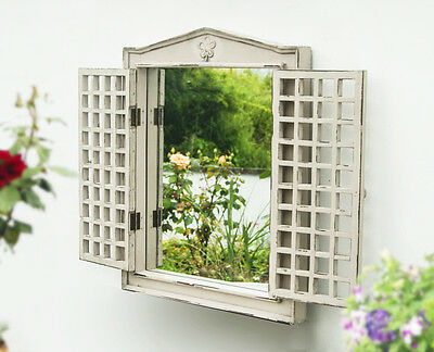 Shabby Chic Wooden Garden Mirror with Shutters Outdoor Illusion Window Aged Look