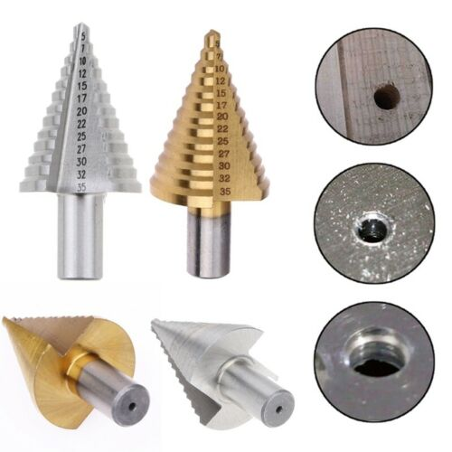 NEW Hex Titanium Coated Step Cone Drill Bit Hole Metal Wood Cutter 5-35mm DFHH