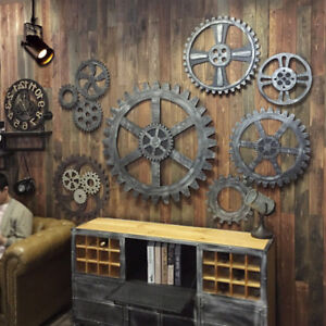 Details About Hanging Wooden Gear Wall Art Industrial Antique Vintage Home Bar Cafe Pub Decor