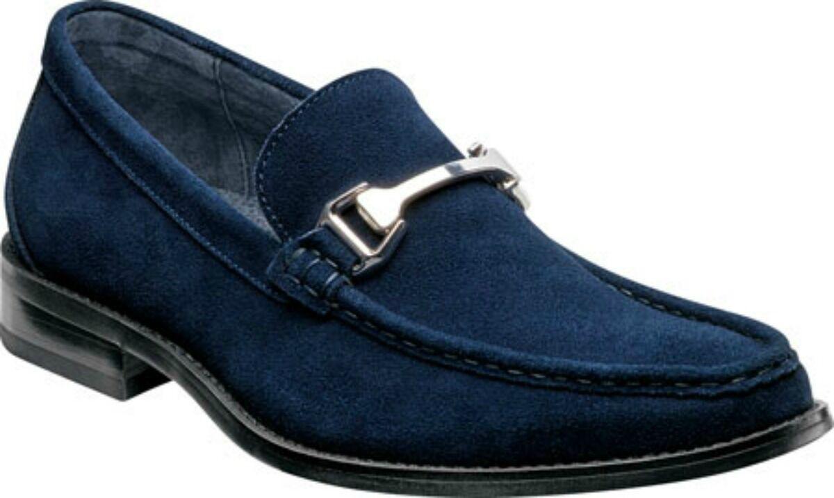 New Stacy Adams Uomo Flynn Moc Toe Bit Slip On Navy Suede Dress Shoe 24914-410