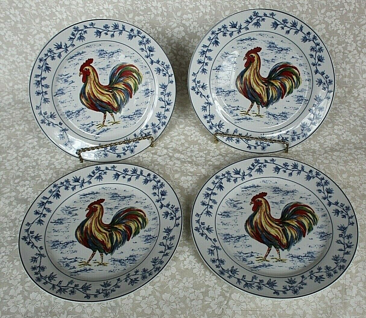 Porcelain Treasures Rooster Dessert Plates NWT 7.5  Lot of 4