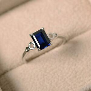 925-Sterling-Silver-Natural-Certified-3-Ct-Blue-Sapphire-Octagon-Shape-Ring