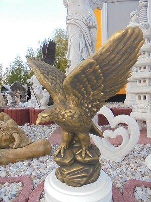 Adlerfigur Steinstatue H.60 cm Gartenfigur Steinguss Vögel Skulptur Gartendeko