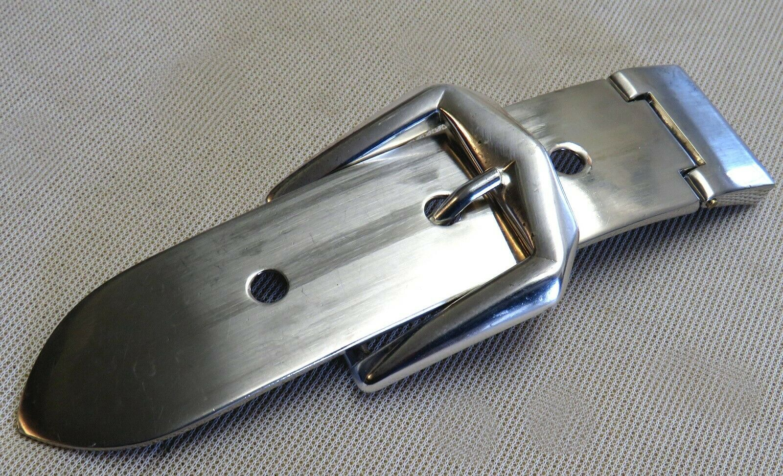 Gürtelschnalle + SPITZE passend f. 3cm breite GÜRTEL Mattsilber METALL Exklusiv#