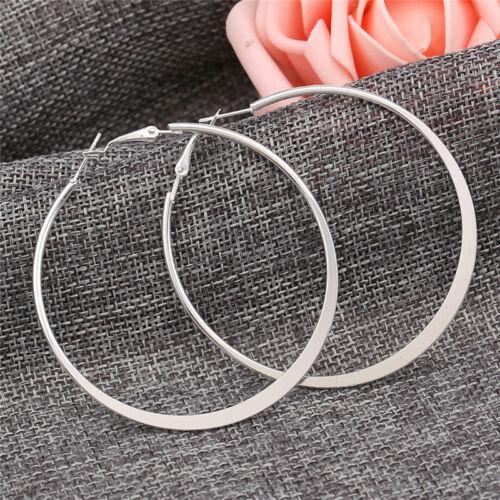 3Pairs//Set Retro Silver Gold Big Circle Hoop Earrings Women Steampunk Ear ClC Q