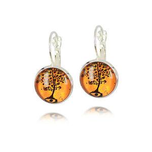 Vintage-Style-Orange-Black-Art-Tree-of-Life-Silver-Cabochon-Drop-Earrings-E1065