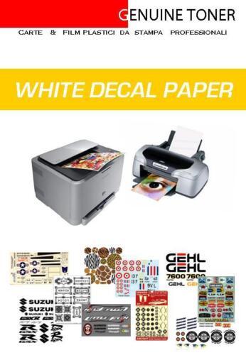 Waterslide Decal WHITE Paper Papier de décalque 2 Feuilles a4 blanche