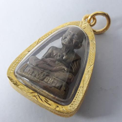 Phra Birthday Monday Buddha LP Tuad 96.5/% Gold Clad Case Thai Amulet Pendant