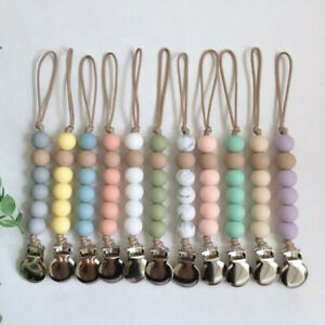 Round Silicone Beads Chew Baby Teething Dummy Soother Holder Pacifier Chain Clip