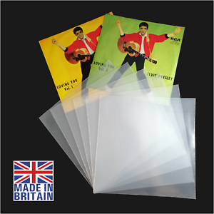 100-7-034-Inch-450g-Plastic-Polythene-Record-Sleeves-45RPM-Outer-Vinyl-Covers