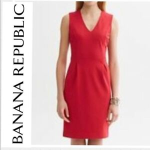 6d8d34fbc9 BANANA REPUBLIC 230018 SAUCY RED PONTE V-NECK SHEATH DRESS NWT 0
