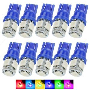 10 x Blue 5SMD LED Dome Map Wedge RV Light Bulbs 168 194 T10 W5W 2821 921 +TOOL