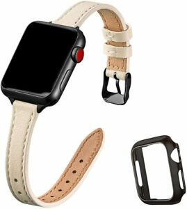 Slim Leather Watch Band Compatible with Apple Watch Band 42mm 44mm