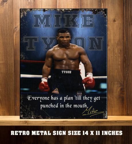 MIKE TYSON BOXING LEGEND GYM STUDIO WORKOUT Vintage  Metal Wall Sign RS99