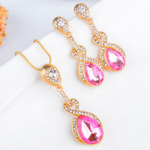 Fashion-Wedding-Bride-Jewelry-Set-Pink-Crystal-18K-Gold-Plated-Necklace-Earrings