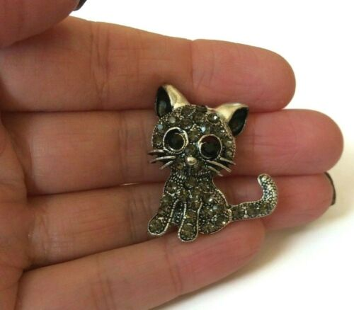 Gato Broche Pin Insignia de Plata Oro Joyas De Estilo Antiguo Gatito Regalo Crazy UK