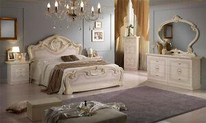Details zu Klassisches Schlafzimmer Komplett Beige Hochglanz Set 6tl.  Italienische Möbel