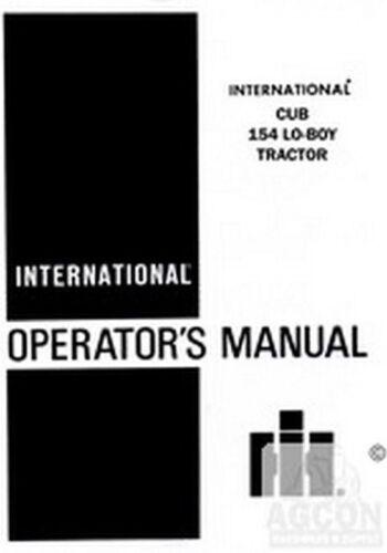 International Harvester CUB LO-BOY Loboy 154 Tractor Owner Operators Manual IH