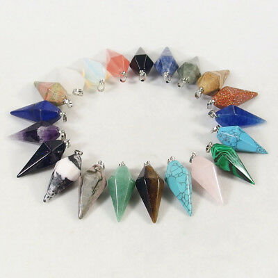 Natural Gemstone Crystal Healing Faceted Fusiform Freeform Pendant Necklace