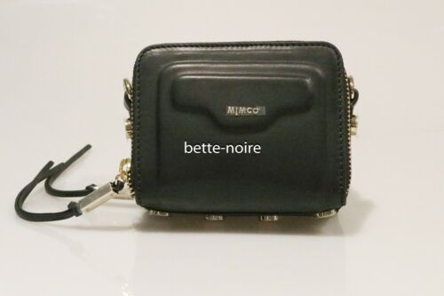 MIMCO ILLUSION HIP BAG BLACK Leather Gold BNWT RRP$249 Handbag Clutch
