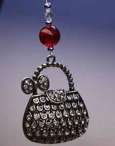 NOVELTY-Christmas-Tree-Ornament-Decoration-Silver-Handbag-with-Swarovski-Crystal