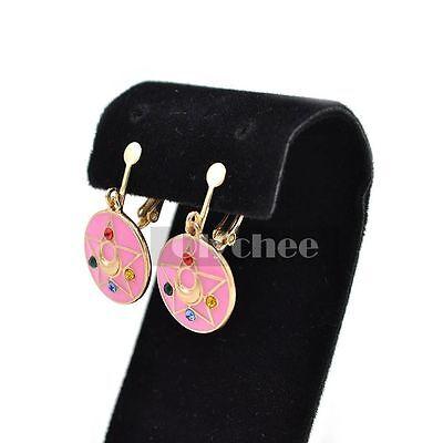 Anime Sailor Moon Cute Earrings Pendant Pink Ear Clip Change Device Style Kawaii