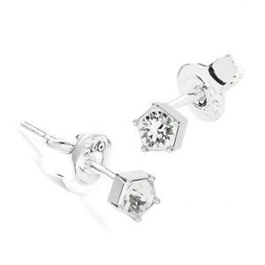 3f7bd6d9d1500 Details about 925 Sterling Silver Stud Earrings Crystal 3 mm Genuine  Crystals from Swarovski®