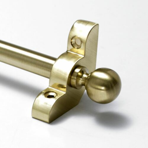 "Satin Brass Stair Rods Premium Range Ball Finial 1//2/"" x 28.5/"""