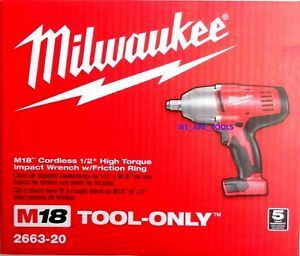 New-In-Box-Milwaukee-M18-2663-20-Cordless-1-2-034-High-Torque-Impact-Wrench-18-Volt