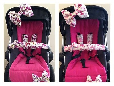 Handmade Pram Bows//Strap Covers//Bumper Bar Cover..../'Flutterby/' ..New