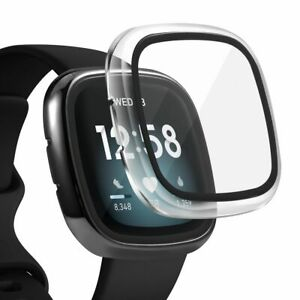 2 x Case Built in Glass Screen Protector For Fitbit Versa 3 / Sense Clear+Black