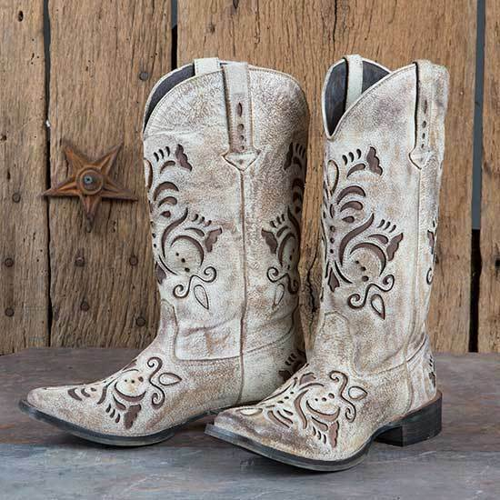 Tan Sanded Brown Inlay Boots