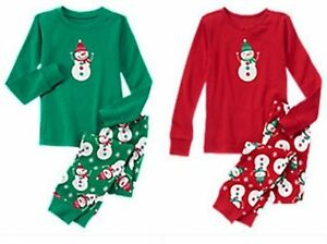 9912a7def2b7 NWT Gymboree SNOWMAN 2015 Christmas Holiday Green Red Pajamas ...