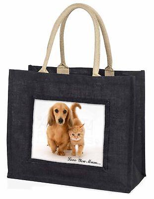 Hund und Kätzchen' Liebe, die sie Mama' große schwarze Einkaufstasche Christmas
