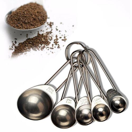 1Set//5pcs Stainless Steel Measuring Spoons Coffee Measure Utensil Cooking.
