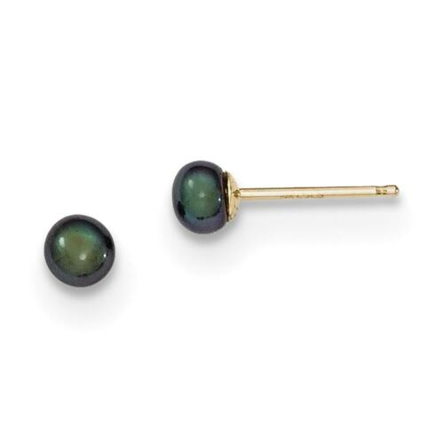 NEW 14k Yellow Gold 3-4mm Black Button FW Cultured Pearl Stud Post Earrings
