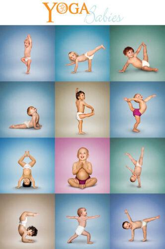 YOGA BABIES 12 Fitness Tots Adorable Hilarious Wall POSTER
